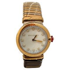 Bulgari Lucea Tubogas Rose Gold & Stainless Diamond Bracelet Ladies Watch 102952