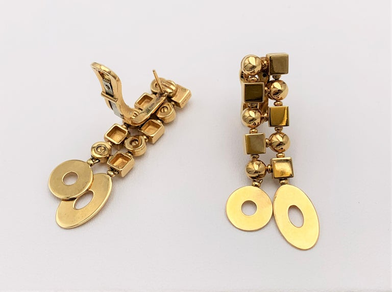 Bulgari 'Lucea' Yellow Gold Earrings In Excellent Condition For Sale In New York, NY