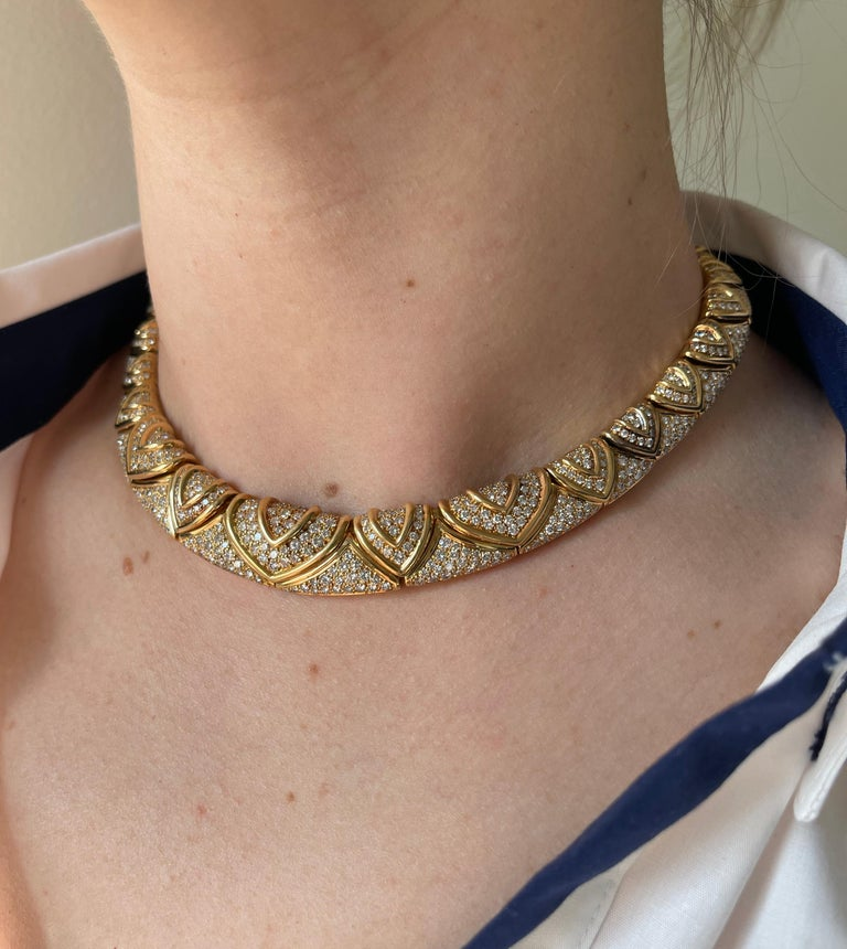 Bulgari Magnificent 28 Carat Diamond Yellow Gold Necklace For Sale 2