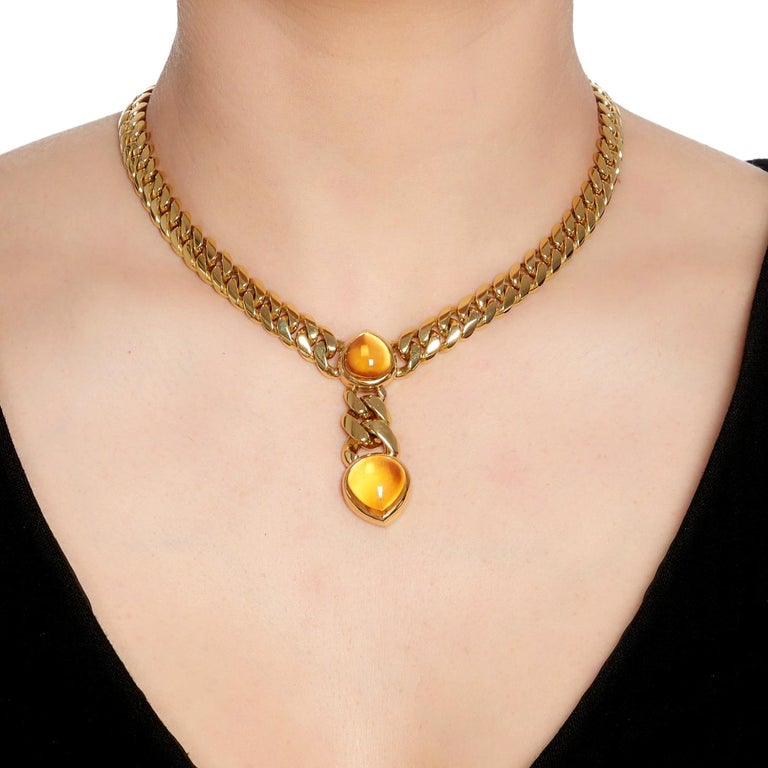 Cabochon Bulgari Magnificent Vintage Citrine Gold Necklace For Sale