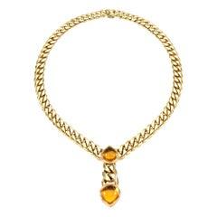 Bulgari Magnificent Vintage Citrine Gold Necklace