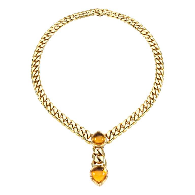 Bulgari Magnificent Vintage Citrine Gold Necklace For Sale