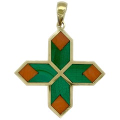 Bulgari Malachite and Coral Cross Pendant-Necklace