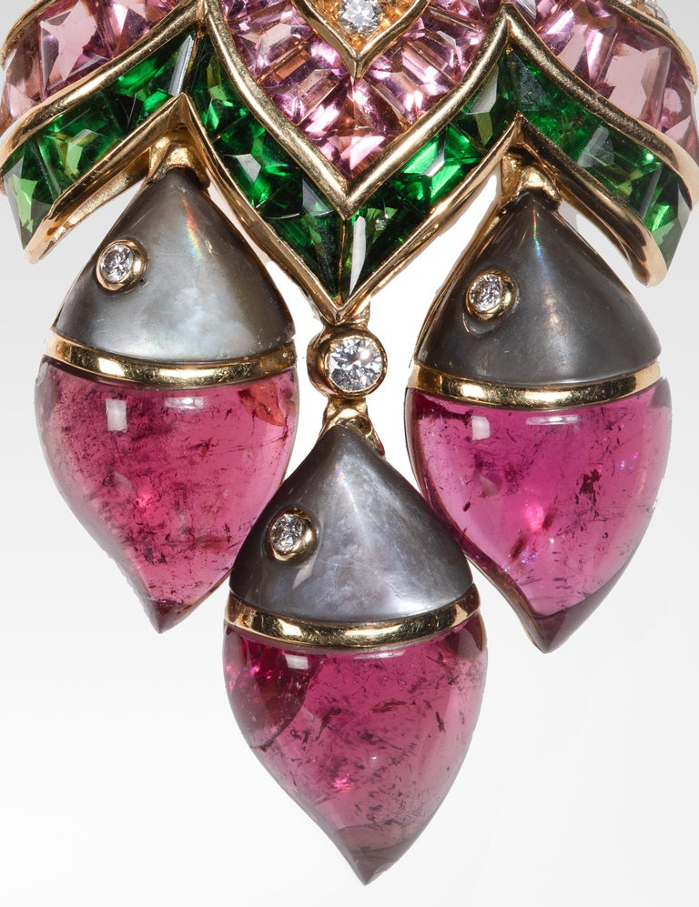 """Bulgari """"Mamma Pesce"""" Gem Set and Diamond Ear Clips In Good Condition For Sale In 02114, MA"""