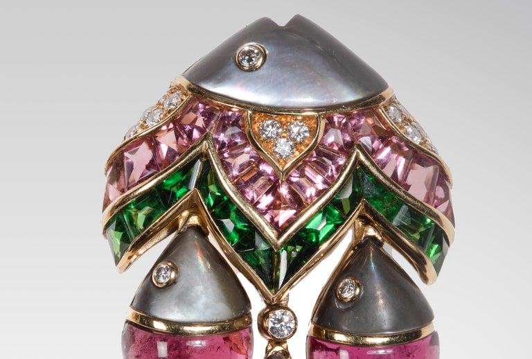"Women's or Men's Bulgari ""Mamma Pesce"" Gem Set and Diamond Ear Clips For Sale"
