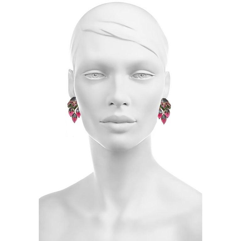 "Bulgari ""Mamma Pesce"" Gem Set and Diamond Ear Clips For Sale 1"
