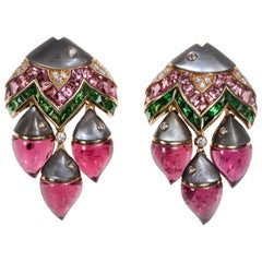 "Bulgari ""Mamma Pesce"" Gem Set and Diamond Ear Clips"