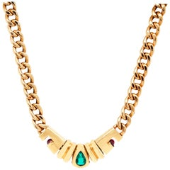 Bulgari Marquise Emerald Cabochon Ruby 18 Karat Gold Chain Necklace