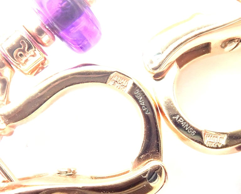Bulgari Mediterranean Eden Diamond Amethyst Ceramic Rose Gold Earrings For Sale 5