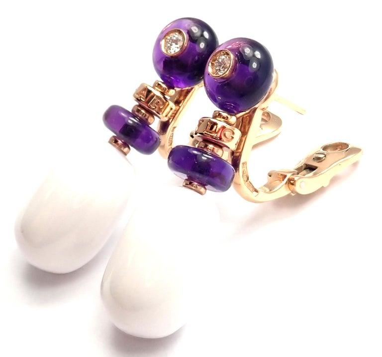 Brilliant Cut Bulgari Mediterranean Eden Diamond Amethyst Ceramic Rose Gold Earrings For Sale