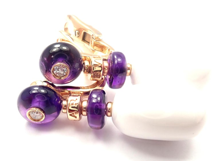 Bulgari Mediterranean Eden Diamond Amethyst Ceramic Rose Gold Earrings In Excellent Condition For Sale In Holland, PA