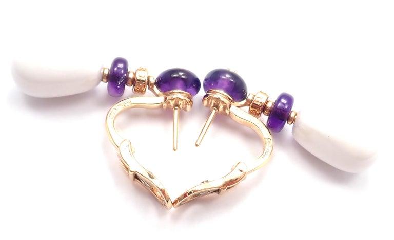 Women's or Men's Bulgari Mediterranean Eden Diamond Amethyst Ceramic Rose Gold Earrings For Sale
