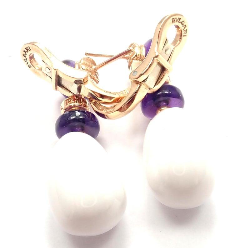 Bulgari Mediterranean Eden Diamond Amethyst Ceramic Rose Gold Earrings For Sale 1