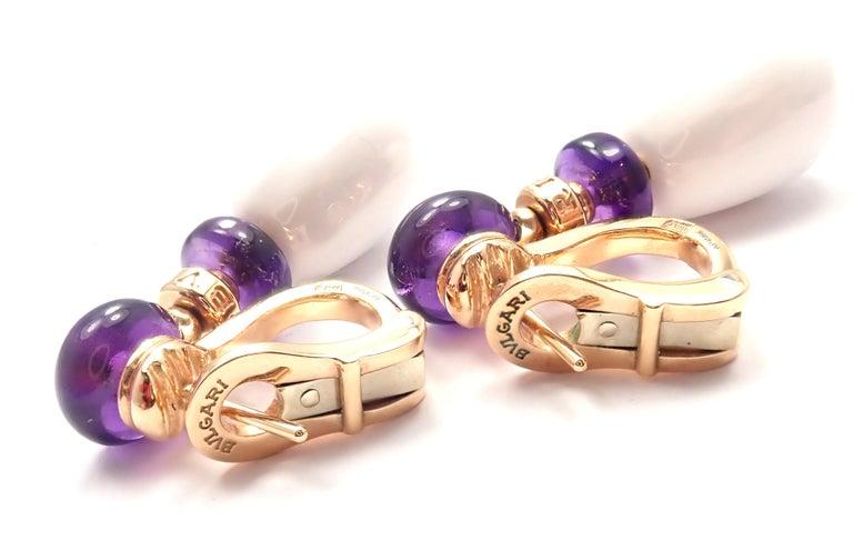 Bulgari Mediterranean Eden Diamond Amethyst Ceramic Rose Gold Earrings For Sale 2