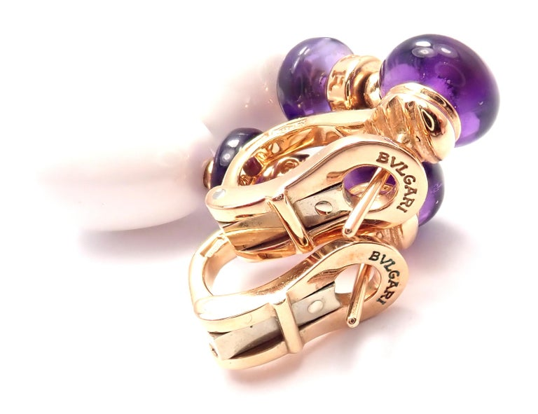 Bulgari Mediterranean Eden Diamond Amethyst Ceramic Rose Gold Earrings For Sale 3