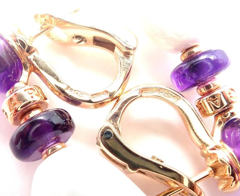 Bulgari Mediterranean Eden Diamond Amethyst Ceramic Rose Gold Earrings For Sale 4