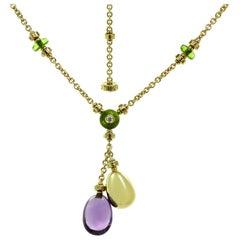 Bulgari Mediterranean Eden Diamond Amethyst Peridot Yellow Gold Necklace