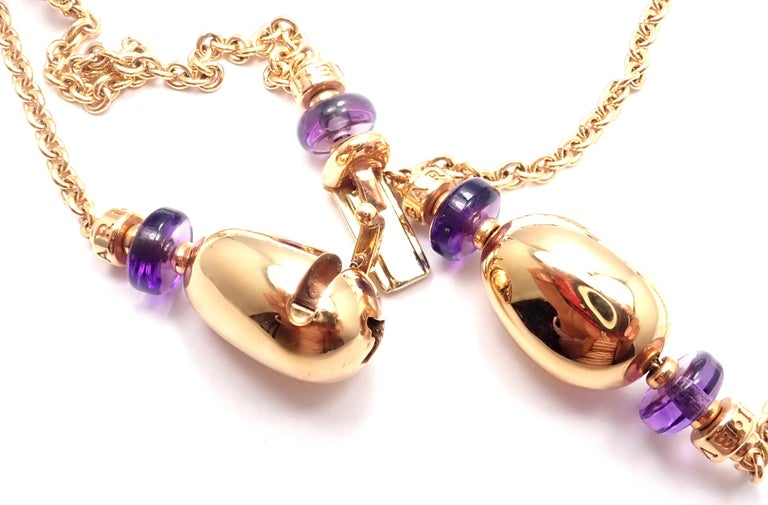 Bulgari Mediterranean Eden Sautoir Amethyst Ceramic Rose Gold Long Necklace In Excellent Condition For Sale In Holland, PA