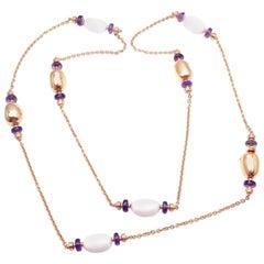 Bulgari Mediterranean Eden Sautoir Amethyst Ceramic Rose Gold Long Necklace