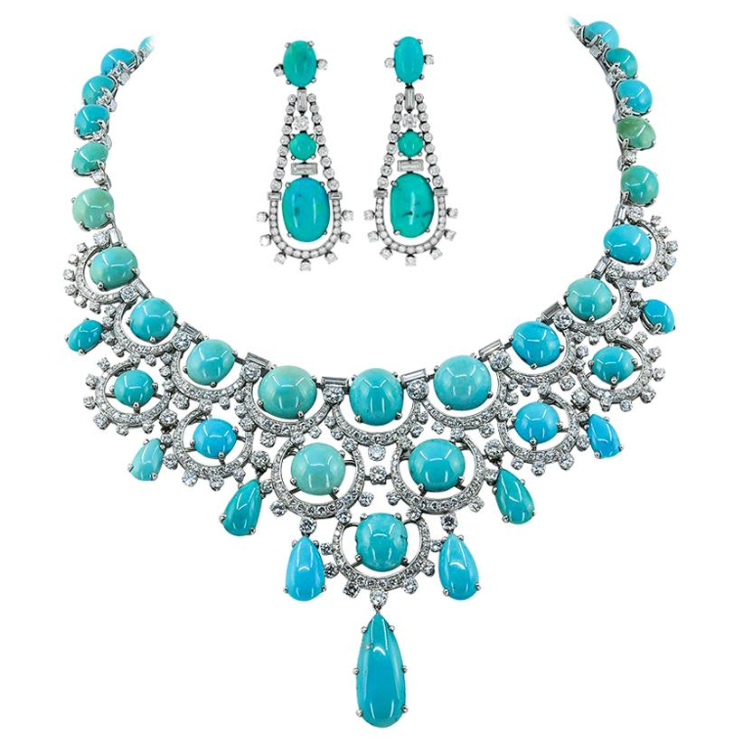 Bulgari Rome Diamond Turquoise Platinum Necklace And Earrings Bib Suite