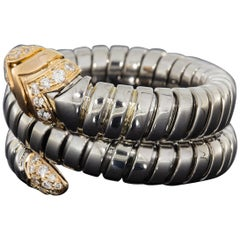 Bulgari Serpenti Tubogas Mixed Metals 0.20 Carat Diamond Wrap Snake Ladies Ring