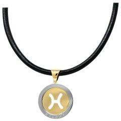 Bulgari Modern 18 Karat Gold Steel Gemini Zodiac Tondo Pendant Necklace