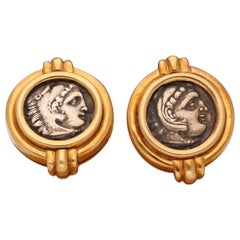 Bulgari Monete Ancient Coin 18 Karat Yellow Gold Earrings