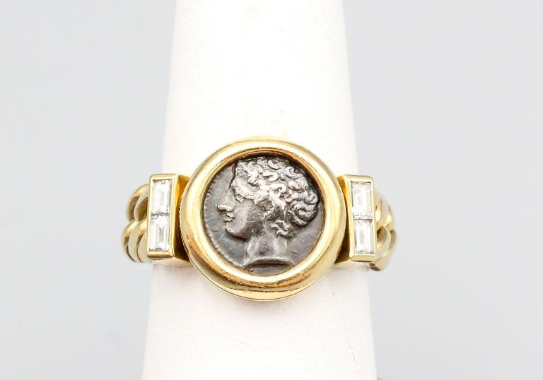 Bulgari Monete Ancient Coin Diamond 18 Karat Gold Flexible Ring In Good Condition For Sale In New York, NY