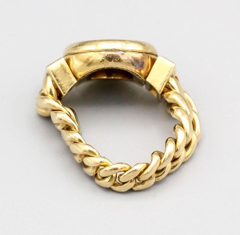 Women's or Men's Bulgari Monete Ancient Coin Diamond 18 Karat Gold Flexible Ring For Sale