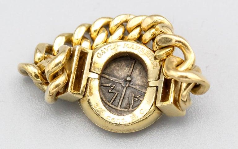 Bulgari Monete Ancient Coin Diamond 18 Karat Gold Flexible Ring For Sale 1