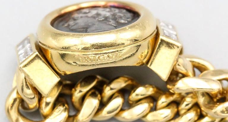 Bulgari Monete Ancient Coin Diamond 18 Karat Gold Flexible Ring For Sale 2