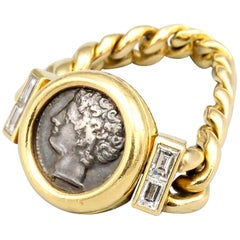 Bulgari Monete Ancient Coin Diamond 18 Karat Gold Flexible Ring