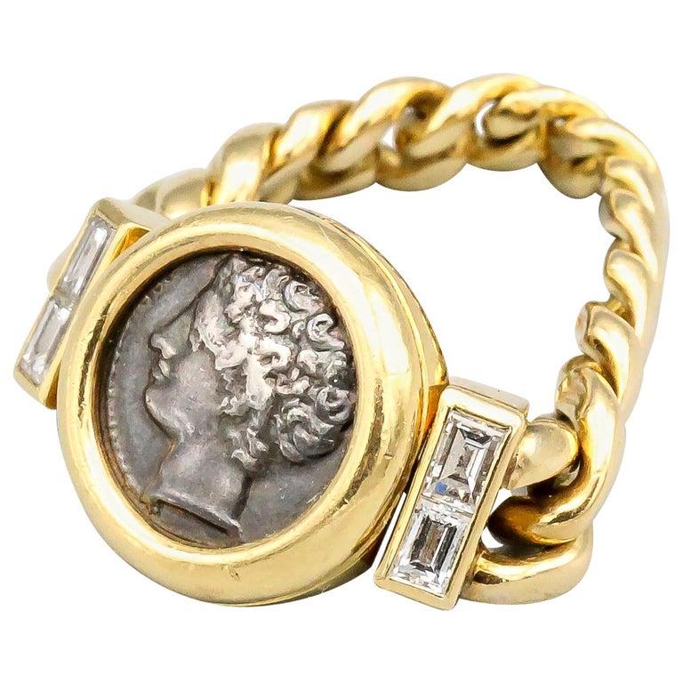 Bulgari Monete Ancient Coin Diamond 18 Karat Gold Flexible Ring For Sale