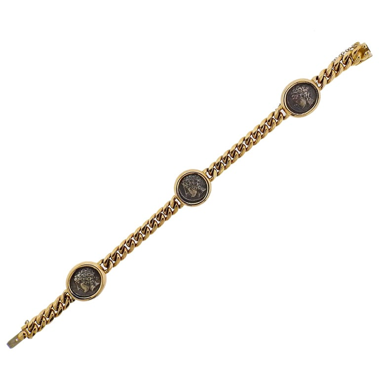 Monete ancient coin gold bracelet, 20th century, offered by OakGem