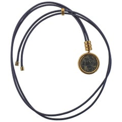Bulgari Monete Ancient Coin Gold Pendant Cord Necklace
