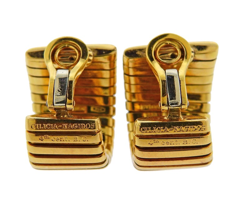 Bulgari Monete Ancient Coin Gold Tubogas Earrings In Excellent Condition For Sale In Boca Raton, FL