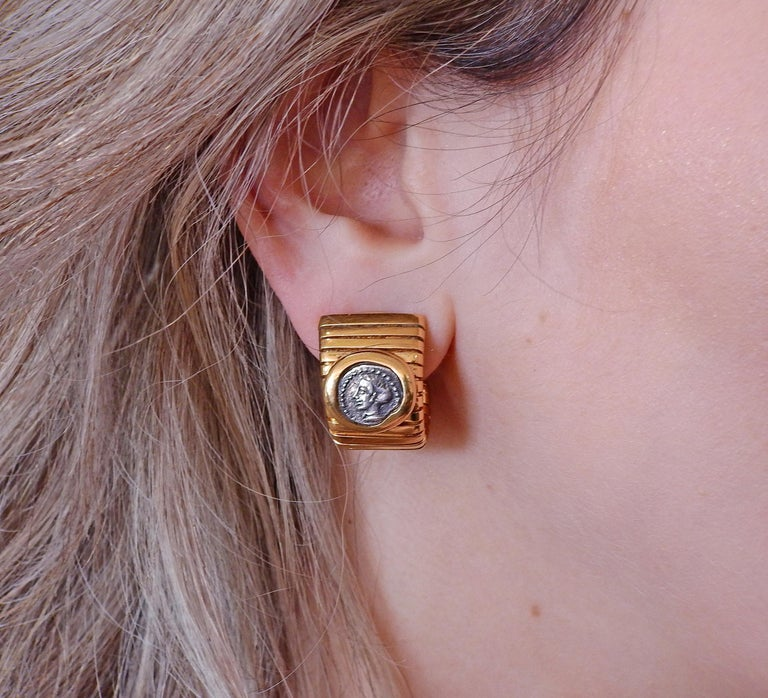 Bulgari Monete Ancient Coin Gold Tubogas Earrings For Sale 1