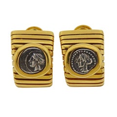 Bulgari Monete Ancient Coin Gold Tubogas Earrings