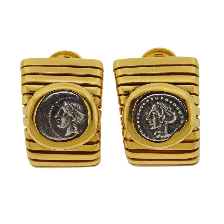 Bulgari Monete Ancient Coin Gold Tubogas Earrings For Sale