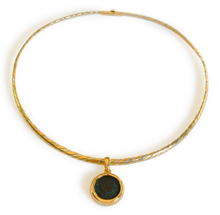 Women's Bulgari Monete Ancient Roman Coin Braided Necklace For Sale