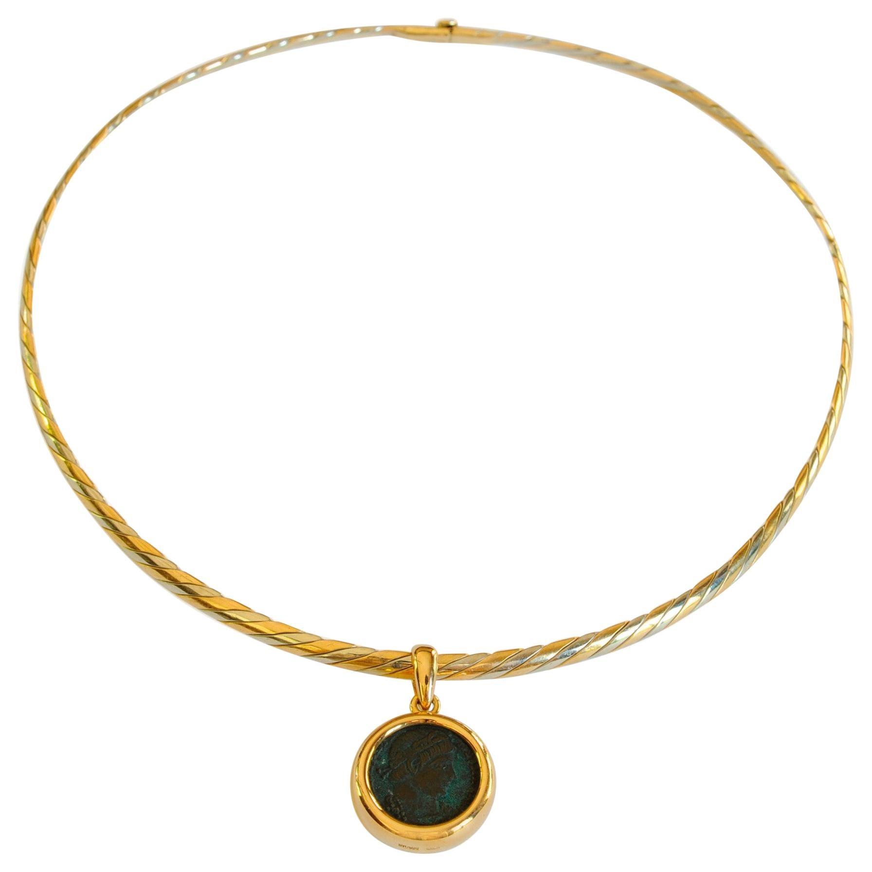 Bulgari Monete Ancient Roman Coin Braided Necklace
