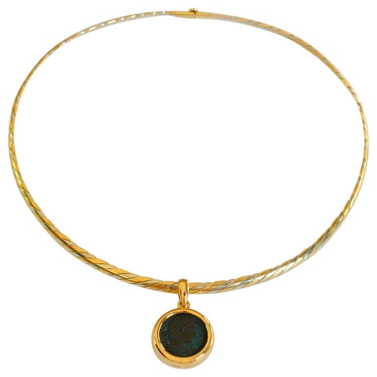 Bulgari Monete Ancient Roman Coin Braided Necklace For Sale