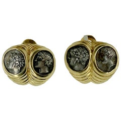 Bulgari Monete Doppio Baccellato Ancient Greek Coin Earclips