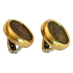Bulgari Monete Gold and Ancient Roman Coin Earclips