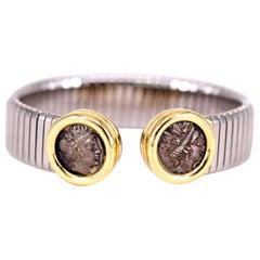 Bulgari Monete Gold, Steel and Ancient Coin Tubogas Bracelet Bangle
