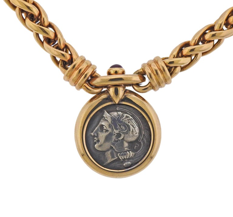 Massive Bvlgari 18k gold Monete necklace with center Roman ancient coin and a ruby cabochon.  Necklace is 16