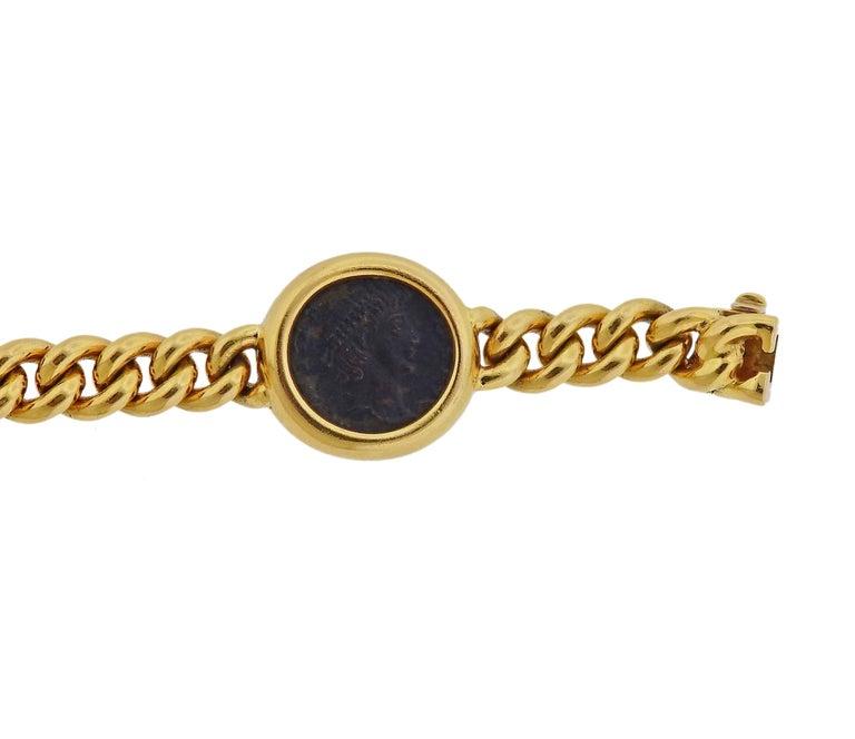 Women's Bulgari Monete Nicomedia Constantinus Ancient Coin Gold Bracelet For Sale