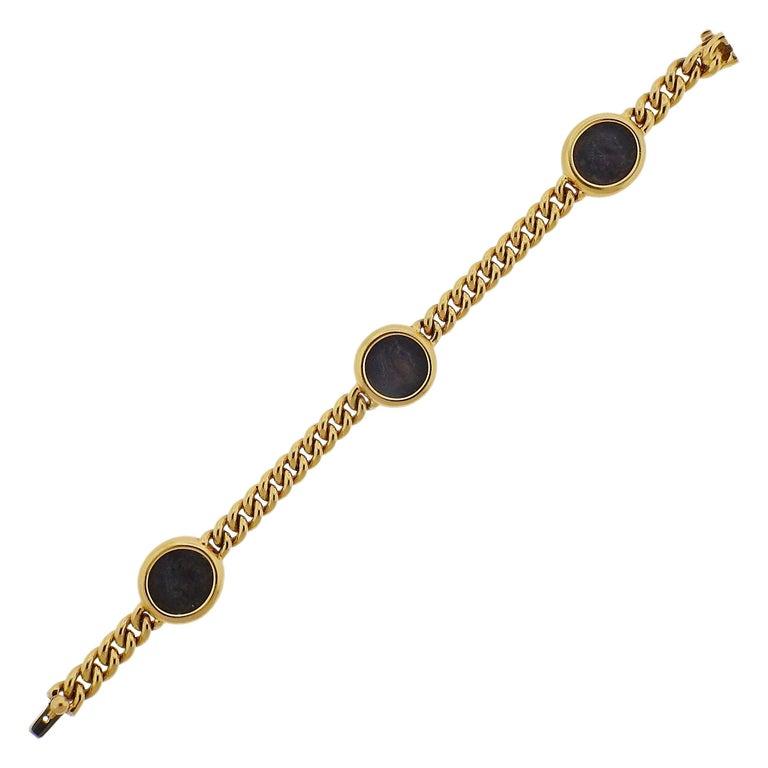 Bulgari Monete Nicomedia Constantinus Ancient Coin Gold Bracelet For Sale