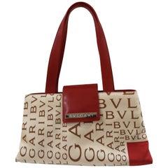 Bulgari Monogram Silk and red Leather shoulder bag