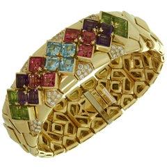 Bulgari Multi-Color Gemstone Diamond Yellow Gold Bracelet
